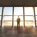 businessman  looking in sky