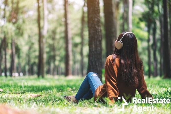 beautiful asian women listening music