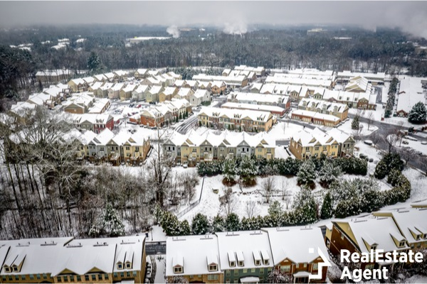 aerial view of alpharetta suburbs in the winter