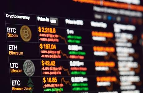 bitcoin exchange rate on monitor display