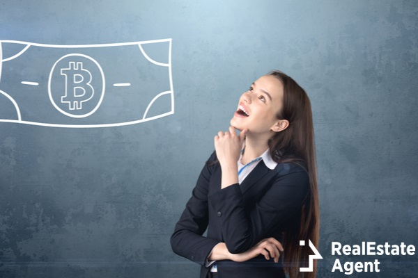 woman thinking on business with bitcoins
