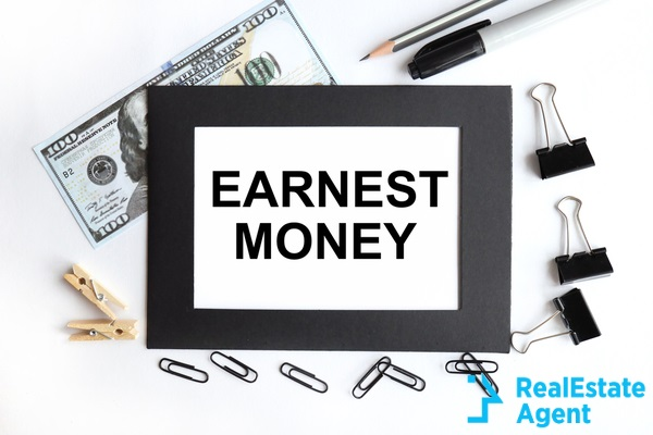 earnest money text on a white paper
