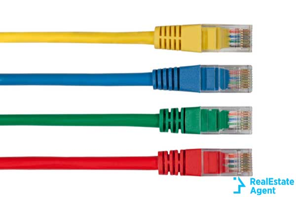 four multi colored network cables