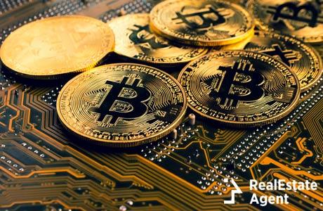 golden bitcoins on mainboard
