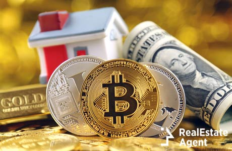 image of cryptocurrency gold money and real estate