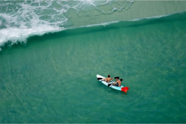 kayakers paddling