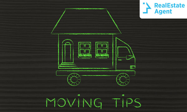 a drawing of a house carried by a truck with moving tips written at the bottom