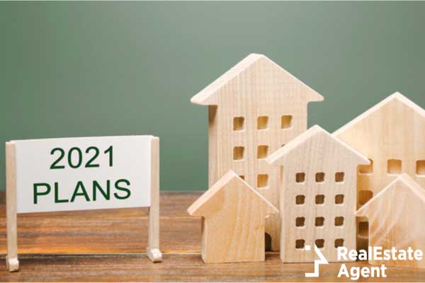 poster with the words plans 2021 wooden house concept