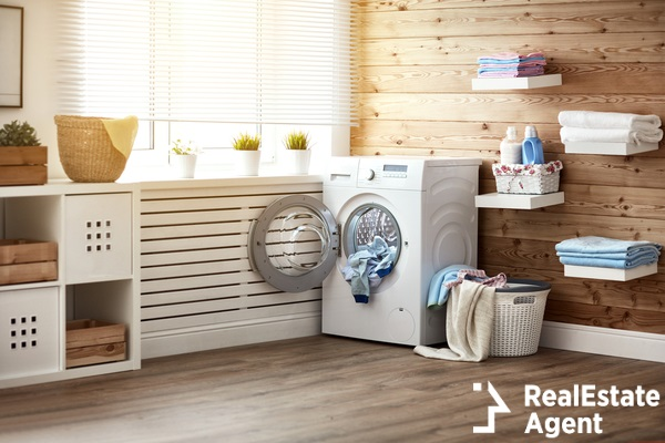 real laundry room with washing machine