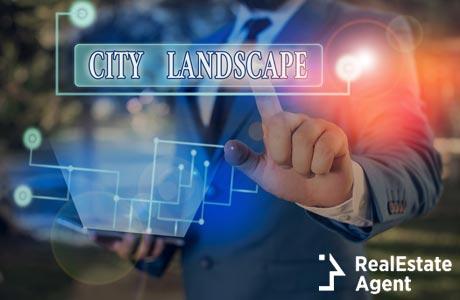 written text city landscape for business