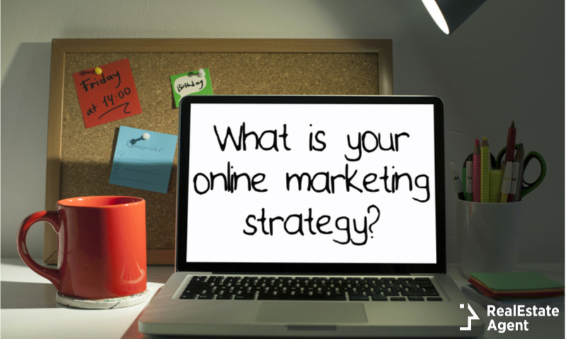 what is your online marketing strategy on a laptop screen