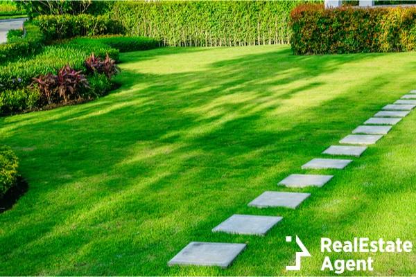 white walkway sheet in the garden