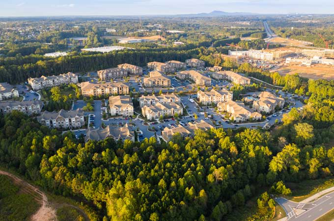 Alpharetta GA suburban community aerial view image