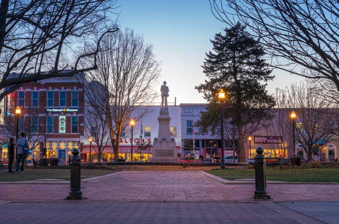 downtown image of Bentonville AR
