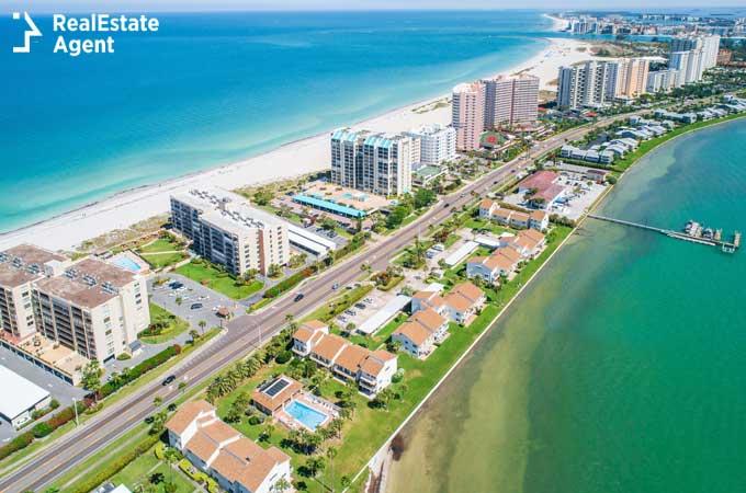 Boca Raton aerial view of apartments near the beach