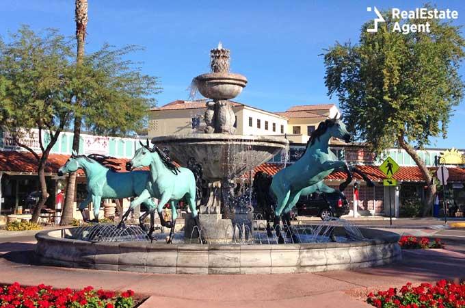Bronze Horse Fountain in Old Town Scottsdale Arizona