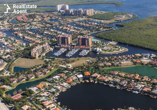 Aerial view of Cape Coral FL