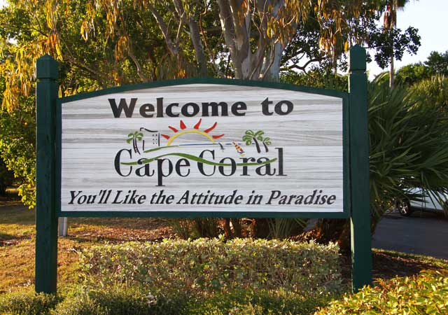 welcome sign for Cape Coral Florida