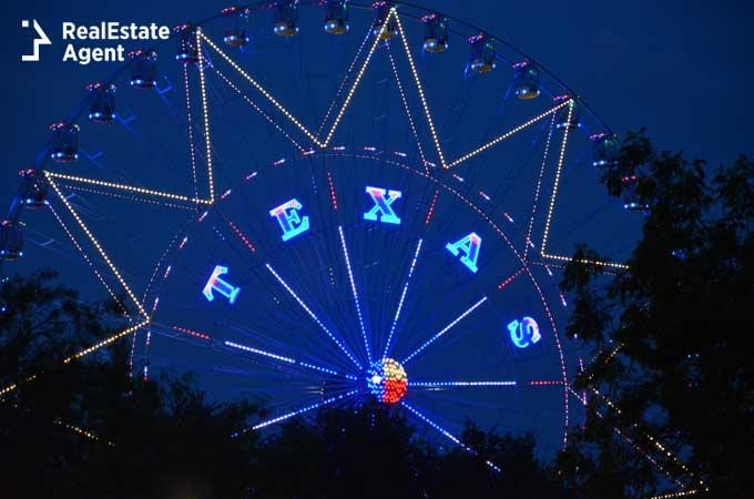 Dallas TX Ferris wheel image at night