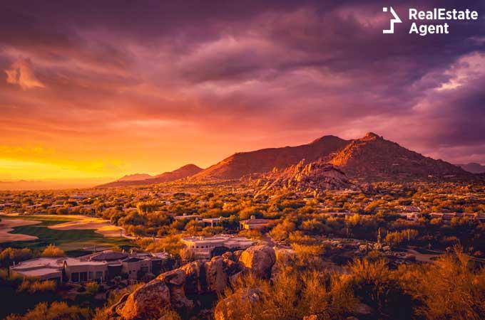 desert landscape view of Scottsdale Arizona USA