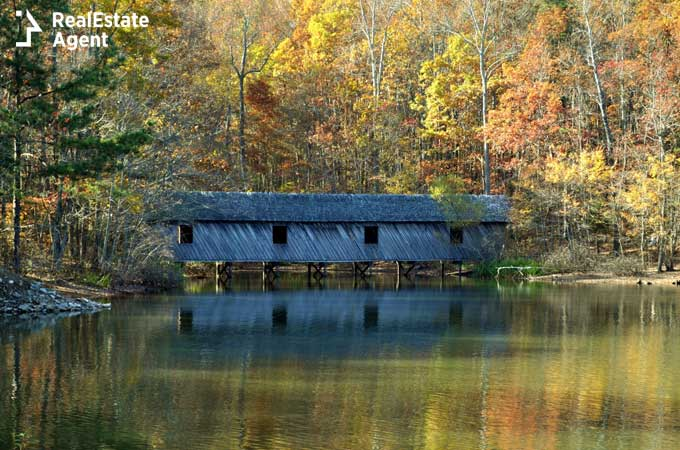 covered bridge in Foley Alabama from the Green Mountain Nature Trail