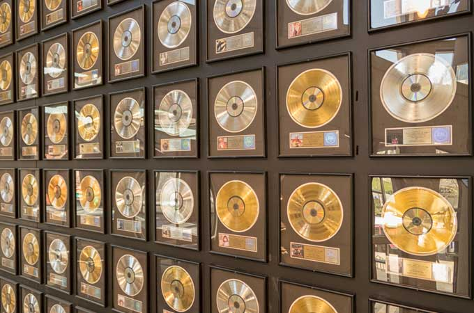 gold, silver and platinum records at the Country Music Hall of Fame and Museum in Nashville Tennessee image