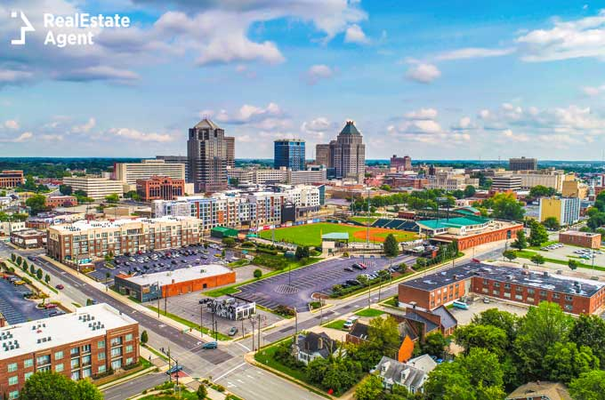 Greensboro NC drone city view