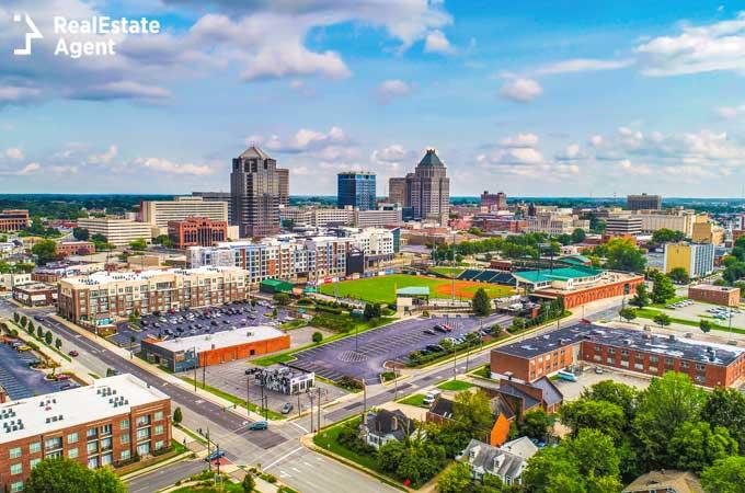 Greensboro NC drone city view
