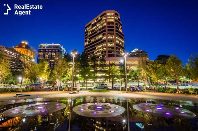 Greensboro NC downtown view at night