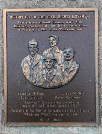 image of Greensboro NC sit-in commemorative plaque
