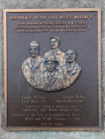 image of Greensboro NC sit-in commemorative plaque