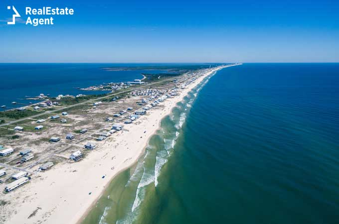 Drone aerial view of Gulf Shores Alabama beach