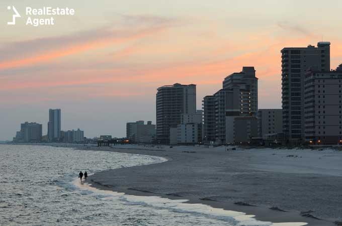 Gulf Shores Alabama beach at sunset