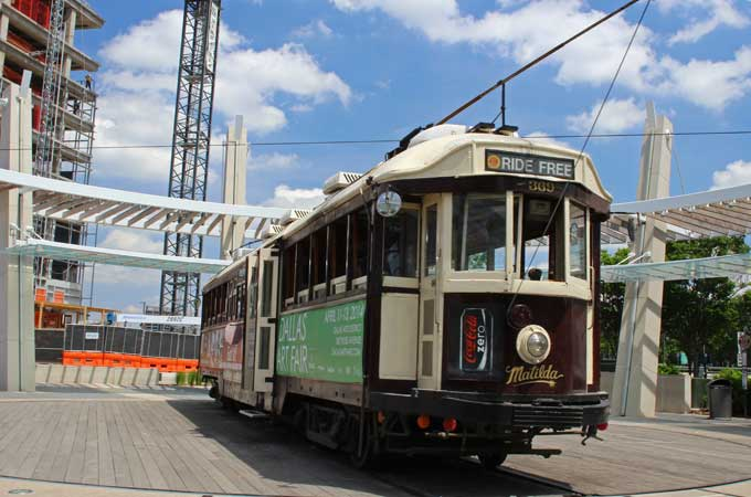 Old trolley in McKinney Texas