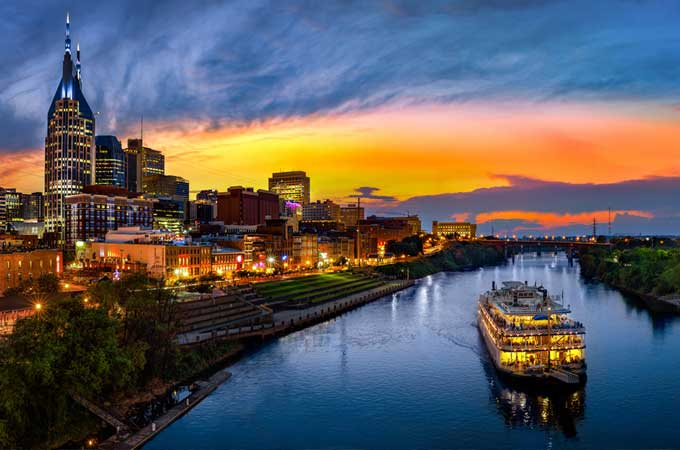 Nashville TN Skyline during evening view from the river