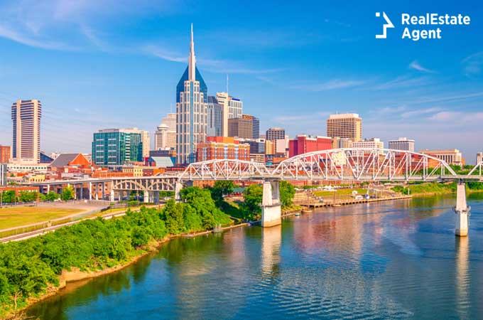 Nashville Tennessee downtown city skyline on the Cumberland River