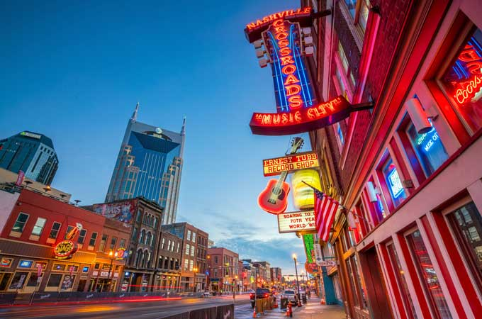 Neon signs on Lower Broadway Nashville TN