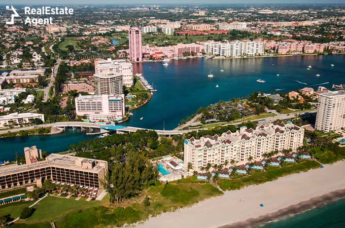 Aerial view over Boca Raton Florida beach and intracoastal