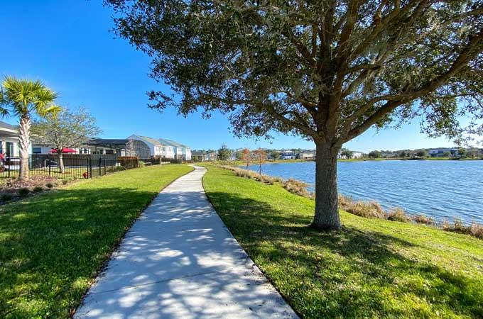Orlando sidewalk on lake Nona