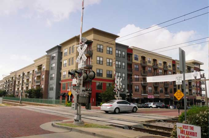 downtown railroad crossing in Plano TX