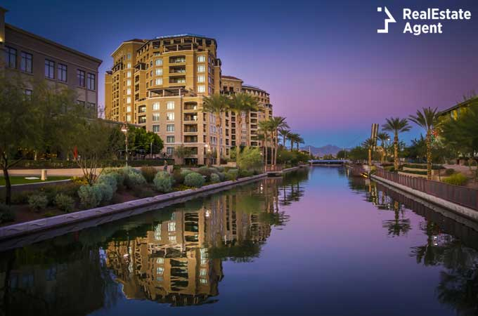 canal running through Scottsdale Arizona view