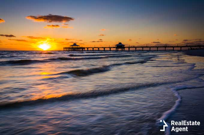 sunset over the fishing pier in Fort Myers Florida