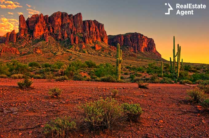 Sunset view of the desert and mountains Scottsdale AZ