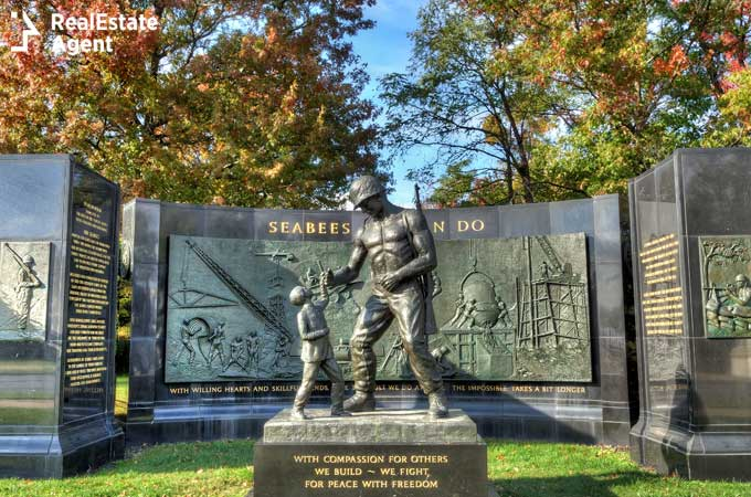 This is the Seabee Memorial in Arlington Virginia near Washington