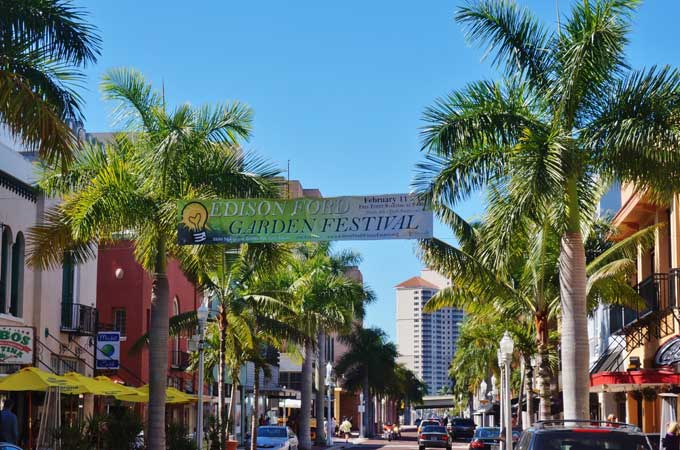 historic downtown of Fort Myers FL