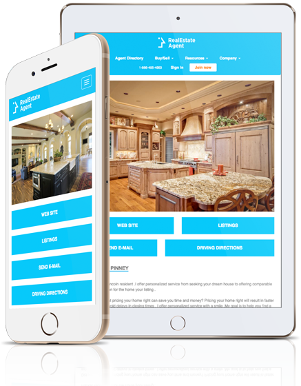 cellphone and tablet view of real estate agent website